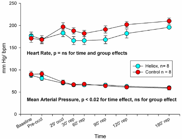 Continuous heliox breathing and the extent of anatomic zone of heart rates remained stable throughout the duration of the study but arterial pressures decreased over time after coronary artery occlusion as is normally ccuart Images