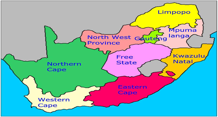 Map Of South Africa Showing 9 Provinces.A Review Of Medical Waste Management In South Africa