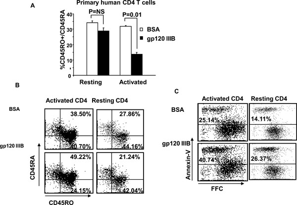 cd4 t cells treated with gp120 acquire a cd45r0   cd45ra